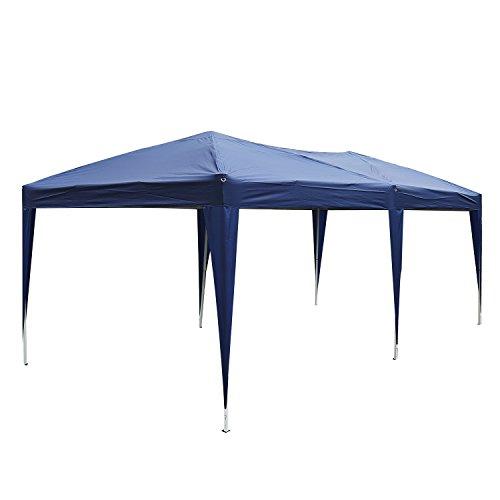 Outsunny Carpa Cenador para Exterior 6x3m Plegable en Acordeón Gazebo Pabellón para Jardín Camping Fiesta Tienda Eventos Boda con Pegatinas Impermeables + 1 Bolsa Transporte Acero Color Azul