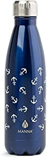 MANNA 17 Oz Stainless Steel Vacuum Insulated Water Bottle | Cola Shape Thermos | 24 Hours Cold, 12 Hours Hot | Reusable Metal Water Bottle | Leak-Proof Sports Flask | (Navy Anchors)
