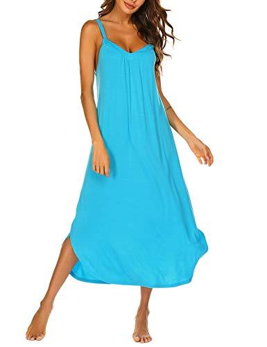 Ekouaer Full Length Nightgown Sleeveless Rayon Sleep Dress Slip Dark Blue Night Dress Plus Size
