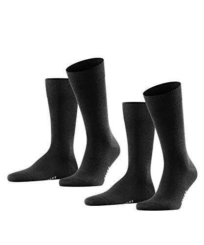 FALKE Herren Happy 2-Pack M SO Socken, Schwarz (Black 3000), 43-46 (2er Pack)