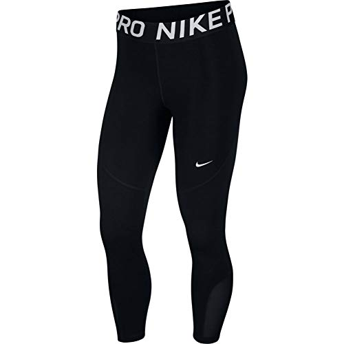 Nike Womens Pro Crop Tights Training Pants AO9972-010 Size L Black/White