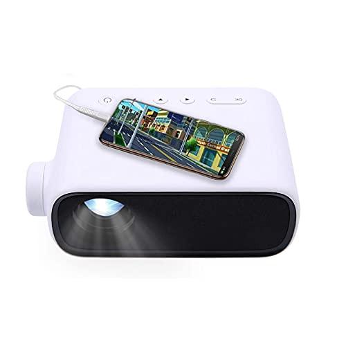 LXLTL Mini Proyector Portátil, Proyector De Video Inteligente LED para El Hogar para Dormitorio con Teléfono Portátil HDMI USB TV AV, Soporte 1920 * 1082, Blanco