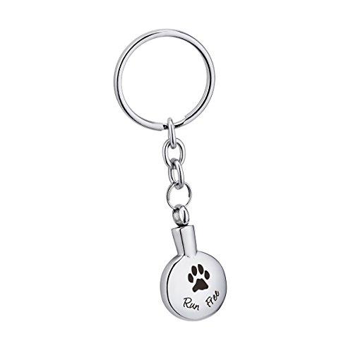 K-Y Gravur Run Free Hund Palm Urne Schlüsselanhänger Edelstahl rund Memorial Esche Andenken Verbrennung Jewelry