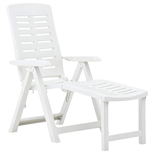 Tidyard Folding Sun Lounger | Garden Recliner Deck Chair | Plastic Beach Chair | Adjustable Loungers White