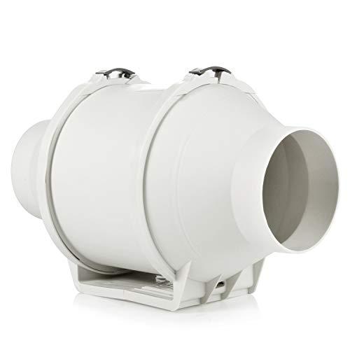 Ventilador de escape, HG Power 100mm Ventilador Extractor de Aire en Línea con Motor de Dos-velocidades para Oficina, Hotel, Baño - 198m³/h Ventilación (100mm)