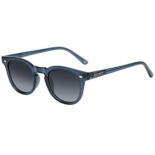 H HELMUT JUST Gafas De Sol Para Mujer Hombre Polarizadas Vintage Ovalada Depp style Tr90 Y Acetate HJ1006 (Azul Oscuro/Gris)