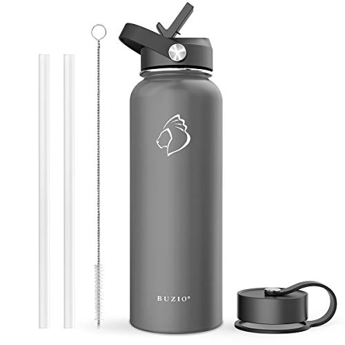 BUZIO Stainless Steel Water Bottle (Cold for 48 Hrs, Hot for 24 Hrs), 40 oz Vacuum Insulated Water Bottle with Straw Lid and Flex Cap (Double Wall, Wide Mouth, BPA Free, Leak Proof), Graphite