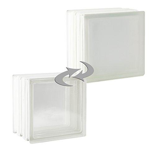 2 Stück FUCHS Glassteine Vollsicht Weiß 1-seitig satiniert (Milchglas) 19x19x15 cm - F60 (Brandschutz)