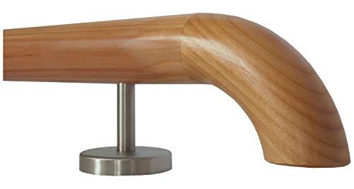 Lärche Handlauf Treppen Geländer Handläufer 30-500 cm aus einem Stück mit Halter Stützen Träger und bearbeiteten Enden 220 mit 3 Halter Holzkrümmling