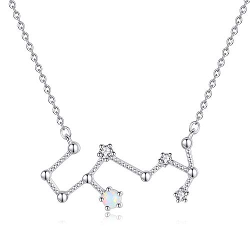 VIKI LYNN Women 925 Sterling Silver Created Opal Scorpio Zodiac Necklace Star Sign Jewellery for Women
