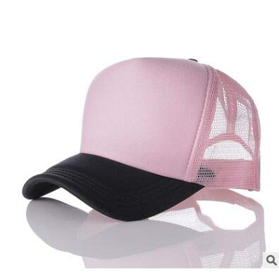 Hombres Mujeres Gorra de béisbol Gorra de Camionero con Logotipo con Estampado de Snapback de Malla-02 Black pink-54-58(Adult)