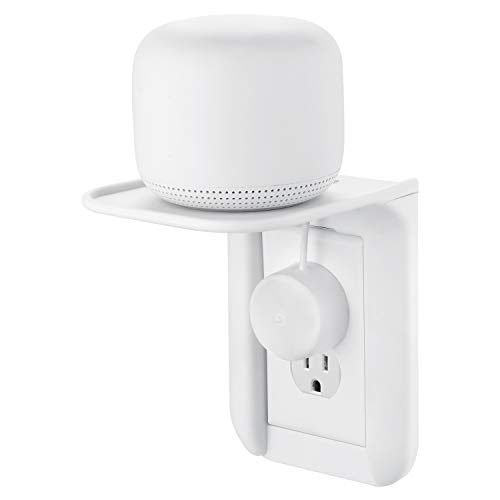 Wasserstein AC Outlet Mount for Google Nest WiFi - Perfect Wall Outlet Shelf for Google Home, Nest Mini & Nest Hub, Dot 1st, 2nd & 3rd Speaker, Sonos One, Smartphones and Other Electronics (1 Pack)