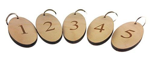 Origine Schlüsselanhänger Schlüsselanhänger Nummern 1 bis 5 nummeriert – Holz oval graviert Zahlen für Hotels, Pensionen, B&Bs, Unternehmen