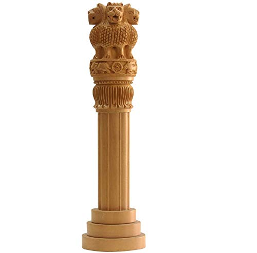mishtienterprises 14 inches Large Wooden Ashoka Stambh- Ashoka Pillar Indian National Emblem- Ideal for Office & Home Decor Showpiece - Best for Gifting- Ideal Gift