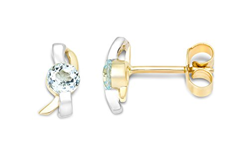 Miore 9ct Two Colour Gold Blue Topaz Stud Earrings MH9060E