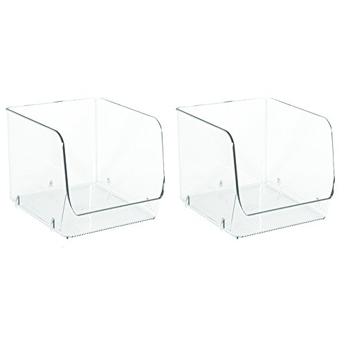 iDesign Linus Plastic Stacking Storage Organizer Bin, Container for Food, Drinks, Produce Organization in Kitchen, Pantry, Bathroom, Bedroom, Office, 6' x 6.25' x 5.25', Set of 2, Clear