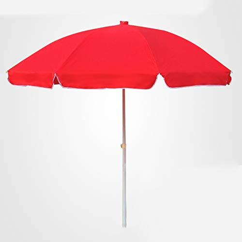 KUWD Sombrilla de Jardín, Paraguas de Playa Redonda, Parasol para Exterior, Piscina, Sombrilla de Terraza, 2.2M, Azul, Rojo