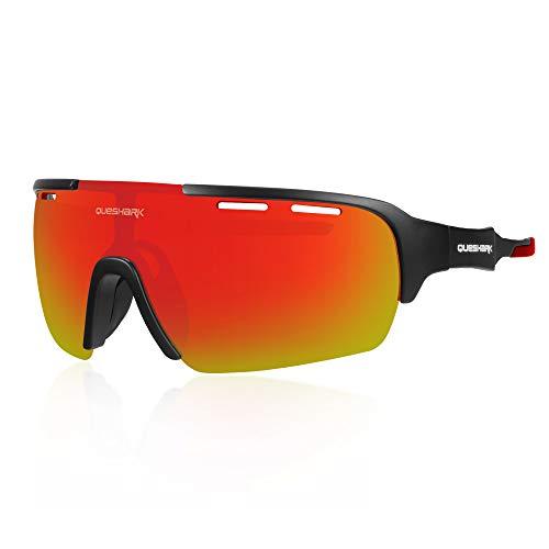 Queshark Sport Sonnenbrille Fahrradbrille Sportbrille mit UV400 4 Wechselgläser inkl Schwarze polarisierte Linse für Outdooraktivit Ten wie Radfahren Laufen Klettern(C04)