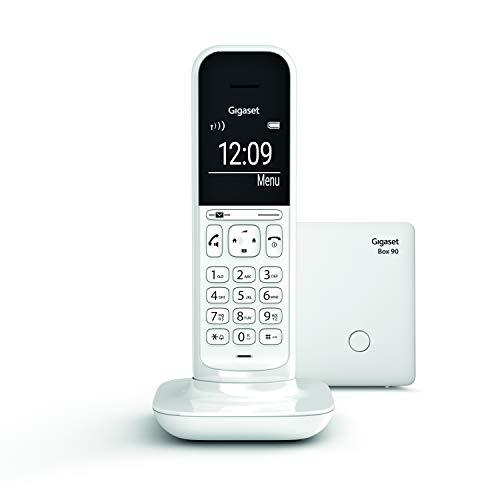 Gigaset CL390 - Teléfono fijo inalámbrico para casa, pantalla iluminada, agenda 150 contactos, blanco