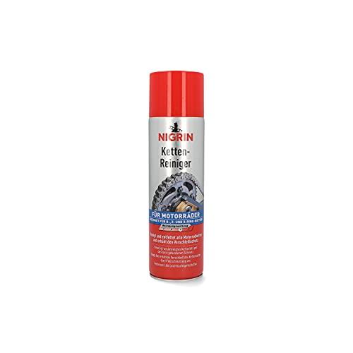 NIGRIN 73889 Kettenreiniger, 500 ml Sprühdose, Kettenspray für Motorrad, reinigt und entfettet Motorradketten