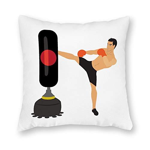 qidushop Funda de almohada de lona, diseño de hombre que patea a pie de kickboxing independiente, funda de cojín de lona decorativa de 45,72 x 45,72 cm, decoración del hogar para sofá