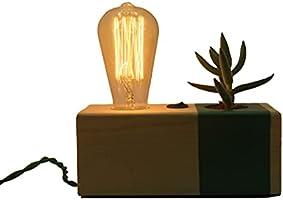 Kaktüslü Masaüstü ve Gece Lambası | Ahşap Dekoratif Aydınlatma