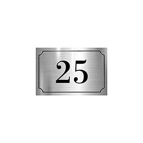 Numéro de maison/rue gravé et personnalisé couleur argent chiffres noirs - Signalétique extérieure - Plastique - 1,6