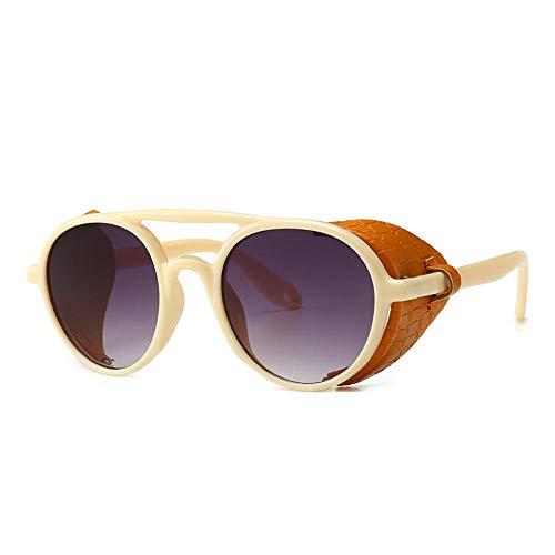 Powzz ornament Tendencia señoras al aire libre personalidad gafas de sol gótico Steampunk escudo lateral retro gafas de sol redondas hombres gafas de sol para hombres