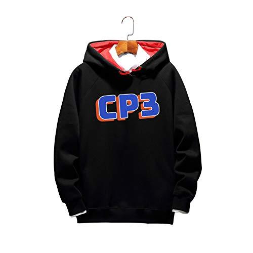 DDOYY Chris # 3 Rockets Basketball Suéter, Baloncesto Periférico Deportes y Ocio Ropa Invierno Plus Terciopelo Suéter con Capucha Moda Top Negro2-XXXL