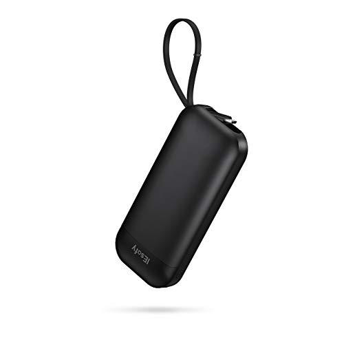 IEsafy Batería Externa Móvil 10000mAh Power Bank Pequeña con Cable Micro USB Incorporado Cargador Portátil para Xiaomi Redmi Samsung Huawei y más Smartphone