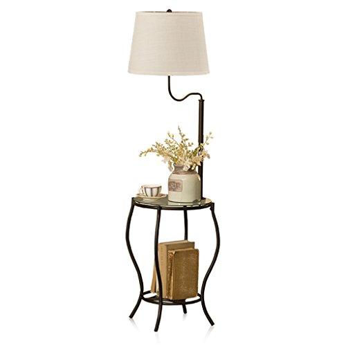 Home mall- Moderna lámpara de pie negra con mesa de centro Lámpara estándar de hierro con pantalla de tela y vidrio Escritorio 139X48cm
