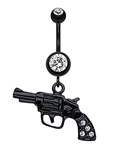 Covet Jewelry Blackline Pistol Gun Sparkle Belly Button Ring (14 GA, Length: 10mm, Clear)