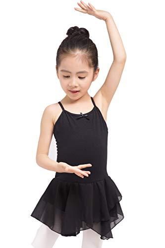 Dancina - Vestido Leotardo para Ballet en Algodón y Lycra para Niña 8-9 años Negro