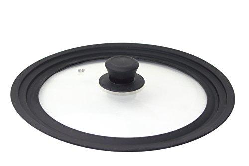 Linnuo Universaldeckel Silikon als Topfdeckel Pfannendeckel mit Dampfloch Silikonrand spülmaschinengeeignet platzsparend für Töpfe Pfannen 24, 26, 28 cm (24/26/28)