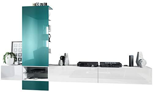 Vladon Combinaison Murale Manhattan V3, Corps en Blanc Mat/Façades en Blanc Haute Brillance, Panneau en Turquoise Haute Brillance