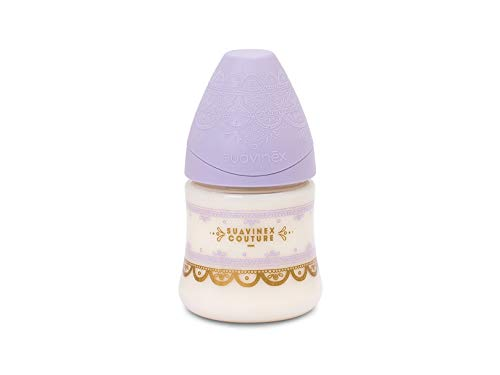 Suavinex - Biberón Bebé Premium Haute Couture. Tetina Redonda Silicona Flujo Lento, 150ml. Biberón +0 Meses. 0% BPA. Diseño Étnico Color Morado
