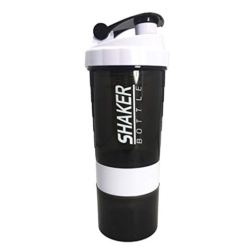 Berrd Creative Protein Powder Shaker Bottle Sports Fitness Mixing Whey Protein Water Bottle Sports Shaker for Gym Powerful Leakproof - 500ml,Red
