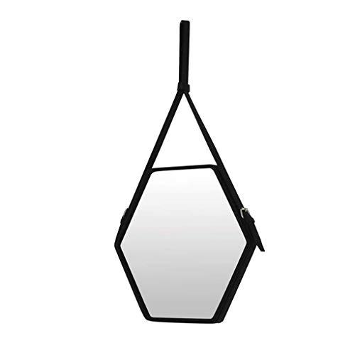 LYN wandspiegel, badkamerspiegel, badkamerspiegel, badkamer-wand-hangende spiegel-decoratieve zwarte frame-zeshoekige spiegel-faux-lederen rand
