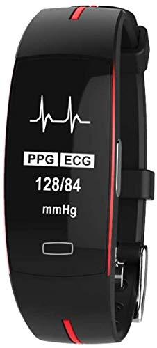 Fitness Tracker Relojes Inteligentes Reloj Deportivo Pulsera de Actividad Tracker Impermeable Bluetooth Con Pulsómetro Podómetro Monitor de Sueño Rojo Negro