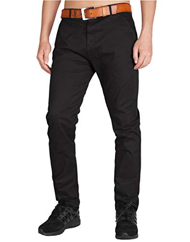 ITALY MORN Men's Chino Pants Slim Fit (30, Black)