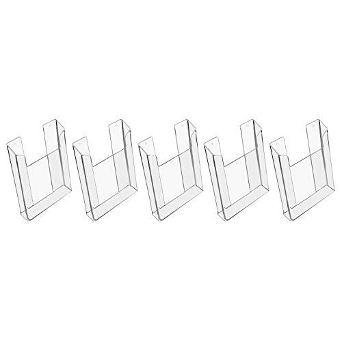 HMF 46842 Wand Prospekthalter aus Acryl | 5 Stück | DIN A5 Hochformat | Transparent