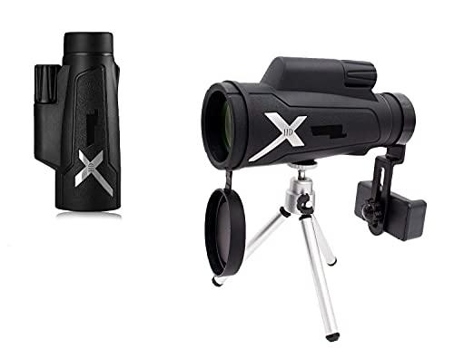 H&1 HD Telescopio Monocular 12x50 Monoculares de Alta Potencia Telescopio con Adaptador rápido para teléfono Inteligente y trípode - Lente FMC Impermeable a Prueba d