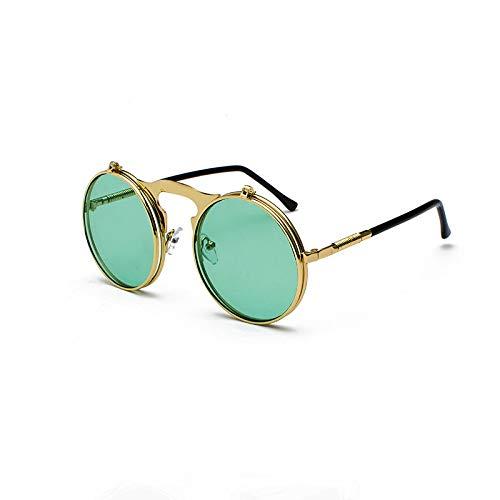 NJJX Vintage Steampunk Flip Gafas De Sol Retro Redondo Marco De Metal Gafas De Sol Para Hombres Mujeres Gafas Circulares C9Goldgreen