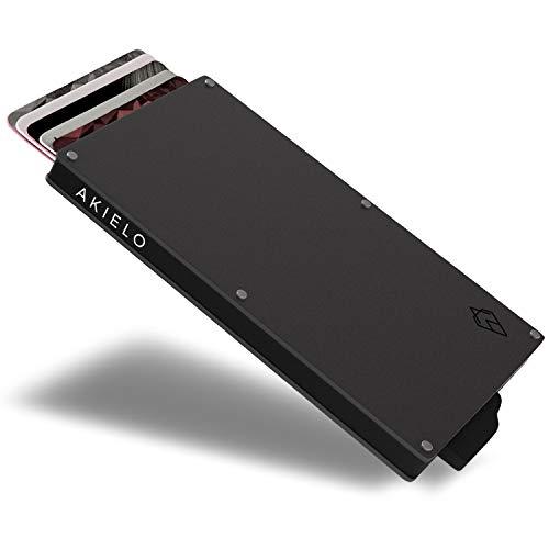AKIELO Porta Carte di Credito con Blocco RFID in Confezione Regalo – Portafoglio Uomo Slim – Porta Tessere Uomo dal Design Minimalista (Collezione Alpha)