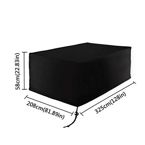 Fablcrew Housse de Protection Table de Jardin de Patio étanche Couverture Jardin pour Meuble Carrée Extérieur Rectangulaire Tissu Oxford Noir 325 * 208 * 58CM