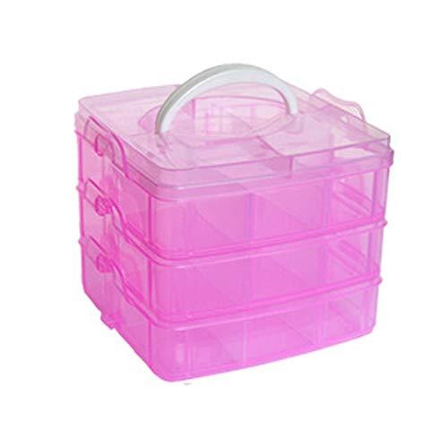 Caja de almacenamiento de plástico apilable, 3 capas, organizador ajustable y desmontable, 15 compartimentos, manualidades con diamantes, caja de almacenamiento de joyas, adornos transparentes (rosa)