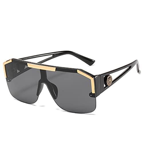 Ygerbkct Gafas de Sol cuadradas de Gran tamaño Hombres Mujeres Moda de Marca de Lujo Gafas de Sol sin Montura de Marco Grande Vintage de Metal Cuadrado