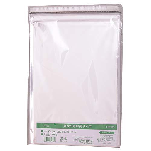 伊藤忠リーテイルリンク OPP袋フタ付(シール付) 角型2号封筒サイズ 100枚入