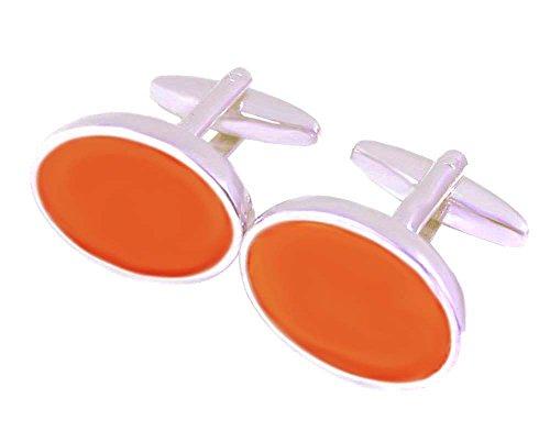 Unbekannt Lack Manschettenknöpfe orange silbern oval 15/20 mm + Silberbox