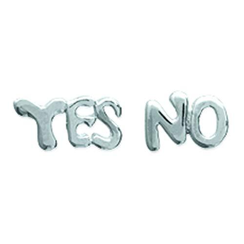 Plata pendientes 'Yes No'.
